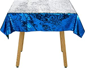 Sequin Mermaid Tablecloth 50x50 Inch Royal Blue to Silver Reversible Table Cover Sparkly Wedding Decor Flip Sequin Table Linen Mermaid Table Cloth for Parties Birthday Other Event