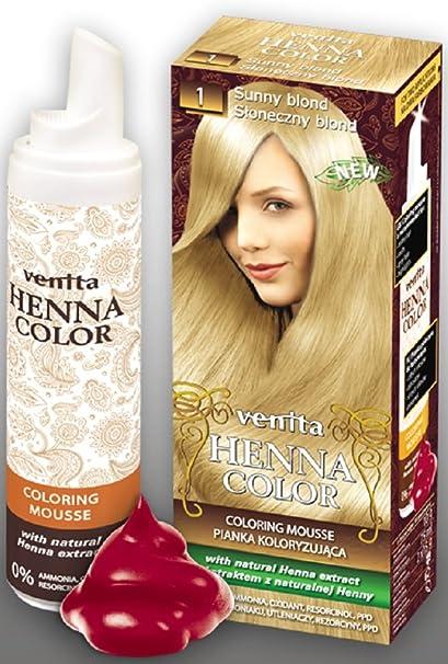 Venita Henna Color Mousse Espuma de Tinte para el Cabello con Extracto Natural de la Alheña. Paquete especial. Rubio soleado (Sunny Blond) № 1