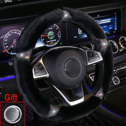 Colorful-B Forala Car Steering Wheel Cover Fur Bling Bling Rhinestone Luxurious Universal for Girls Lady Winter Warm