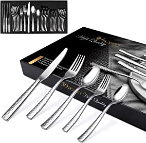 Elegant Life Silverware Set Hammered 30-Piece Heavy-duty Cutlery Set for 6, Home and Restaurant, Stainless Steel Eating Utensils Including Forks/Spoons/Dinner Knives, Mirror Polished, Gift Package