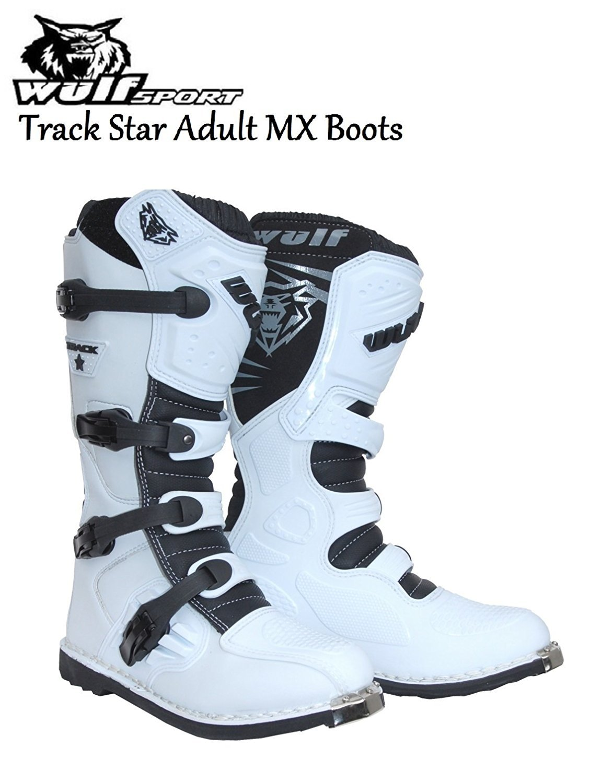 TRACKSTAR WULFSPORT MX ADULT BOOTS NEW 2016 Motorbike Motocross Quad Sport Racing Boots White