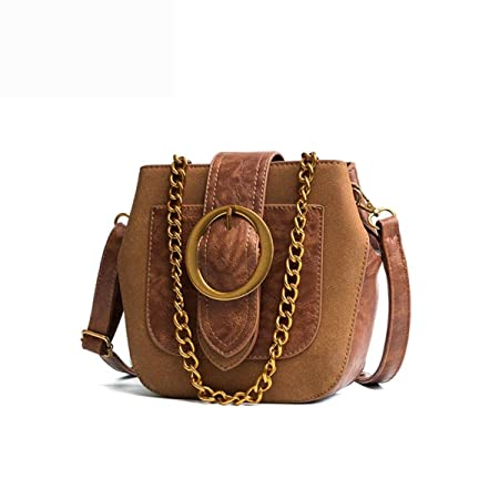 NBAG Women s Retro Chain Bag Shoulder Bag Wild Scrub Messenger Bag Fashion  Casual Mini Bucket Bag 678dbfb6a44bc