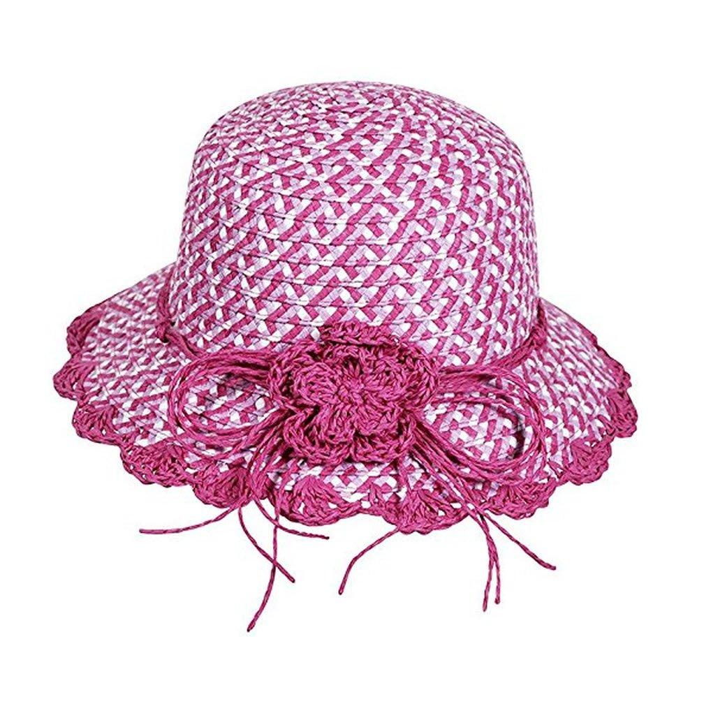Fiebig GmbH & Co KG Chapeau Fille 3Couleur avec Fleurs d'été Chapeau Enfants Protection de Soleil Chapeau de Plage