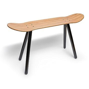 Fantastisch EMILZACKE Skateboard Beistell Tisch Sitzbank Aus Bambus Holz Und Schwarzem  Metall Rohr Ablage