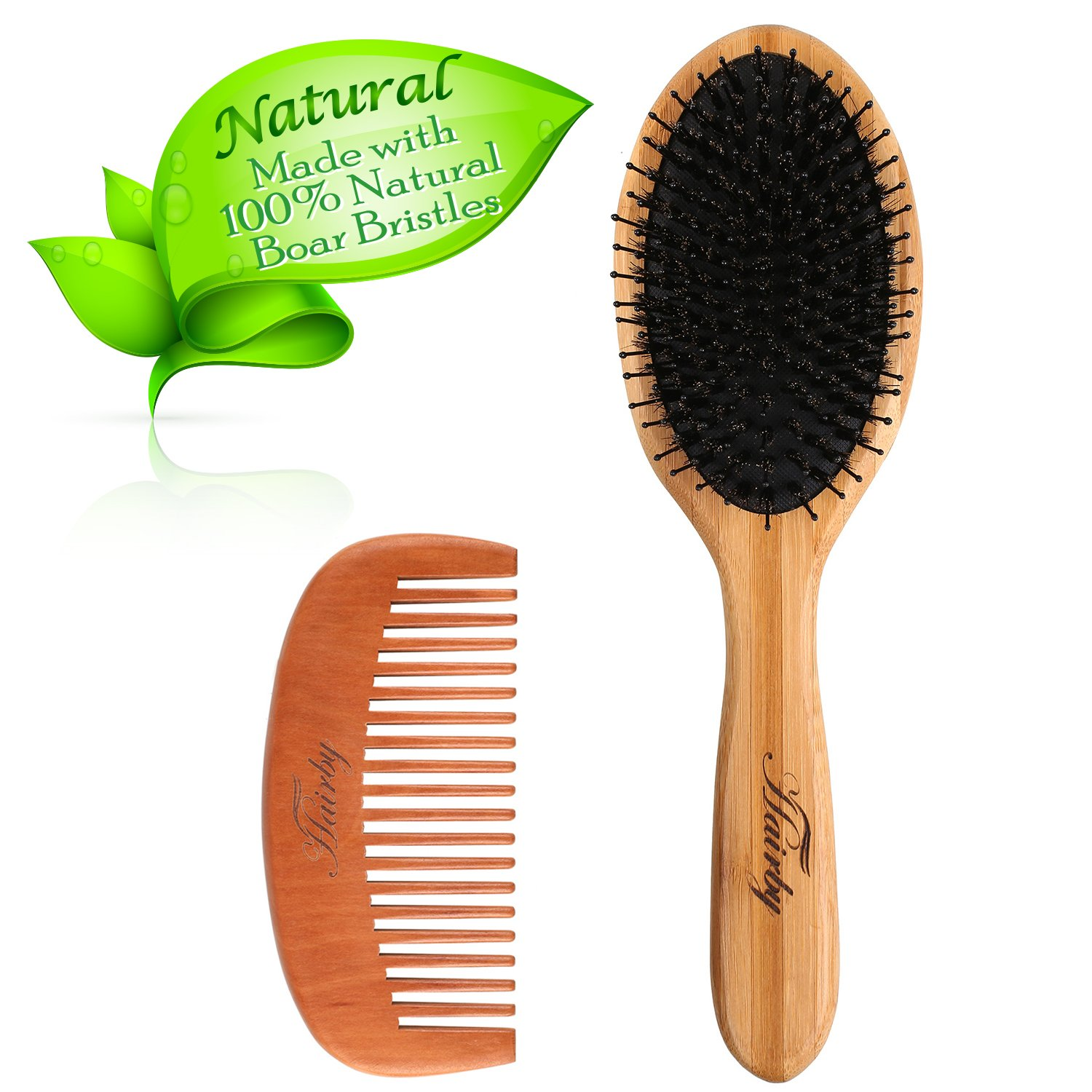 Hair Brush Set, Boar Bristle Hair Brush Wooden Hair Comb for Curly Hair and Normal Hair, Designed for Women and Men