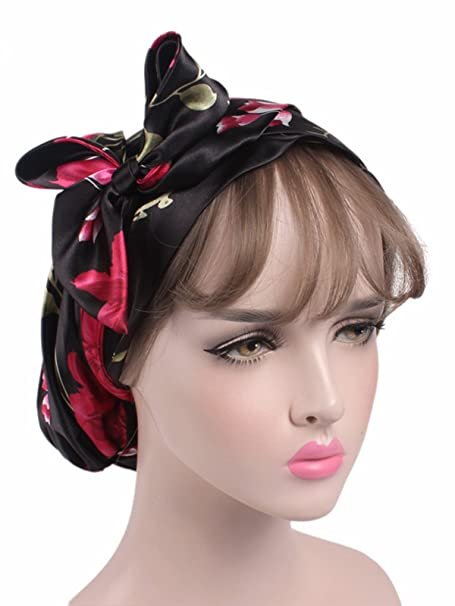 b1c553a0e32 Zando Women Night Sleep Cap Slouch Hats Satin Head Hair Scarf Bonnet Slouch  Long Silk Beanie for Hair Loss 2 Pack Black   Rose Red Flower at Amazon  Women s ...
