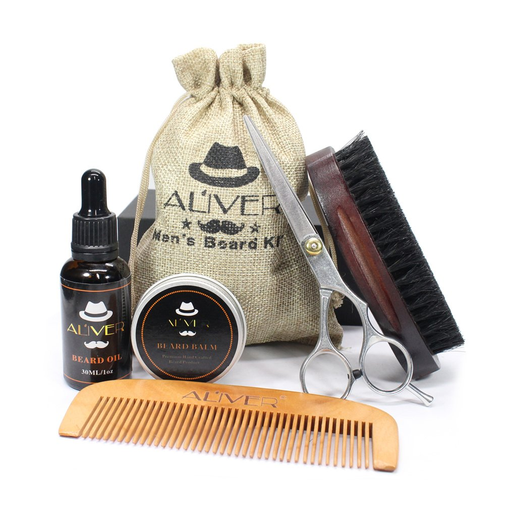 5 PCS Men Beard Care Kit, Natural Beard Oil, Beard Brush, Mustache Comb, Mustache Balm Beard Wax Scissors Beard Grooming & Trimming Kit Perfect Gift Kit For Men Daddy perfectshow