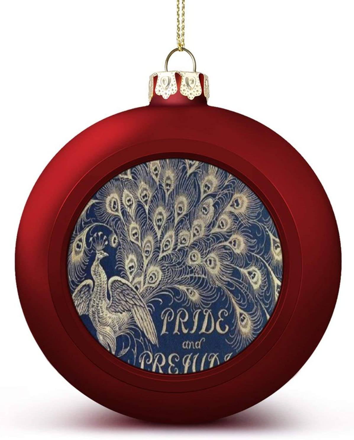 JANNINSE Pemberley Pride and Prejudice Peacock Jane Austen Darcy Christmas Ball Ornaments Anti-Drop, Plastic Ornaments Christmas Balls, Various Holiday Party Decorations