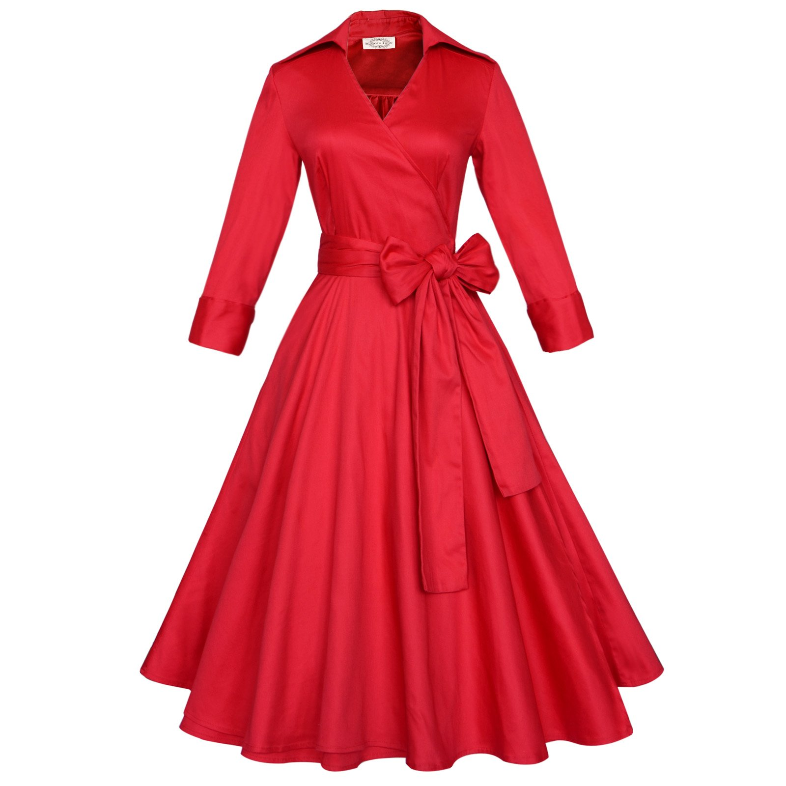 Maggie Tang 3/4 Sleeve 50s 60s Vintage Swing Rockabilly Dress Red Size M