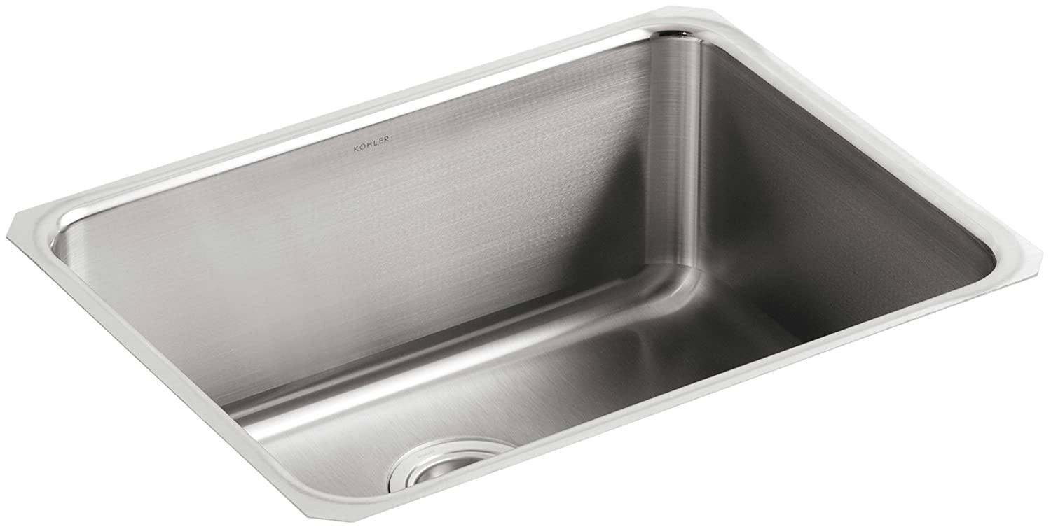KOHLER K 3325 NA Undertone Extra Large Squared Undercounter Kitchen Sink, Stainless  Steel   Single Bowl Sinks   Amazon.com
