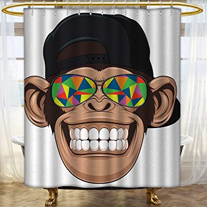 Anhounine Cartoon Shower Curtain Customized Fun Hipster Monkey With Colorful Sunglasses And Hat Rapper Hippie Ape