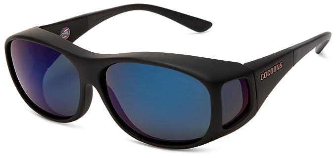 cf919c876e5c Cocoons Fitovers Polarized Sunglasses Slim Line (MED), Pilot Black  Frame/Blue Mirror