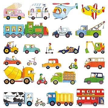 Decowall DW-1405 Transporte Autos Fahrzeuge Wandtattoo Wandsticker  Wandaufkleber Wanddeko für Wohnzimmer Schlafzimmer Kinderzimmer