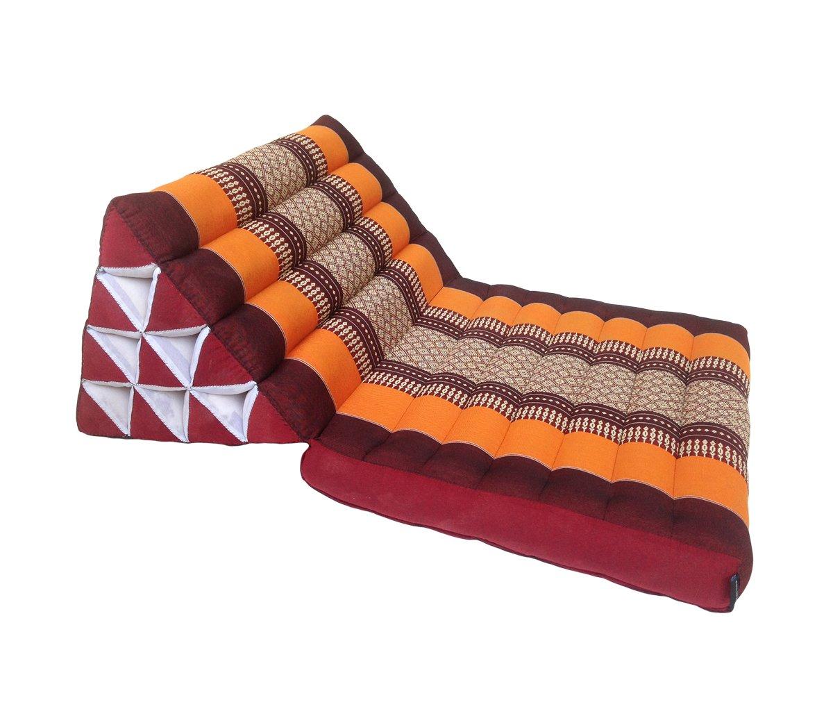 Colchón de meditación tradicional Thai Kapok, con cojín de respaldo, estilo oriental tradicional, para yoga, masaje o relajación, se puede plegar: ...