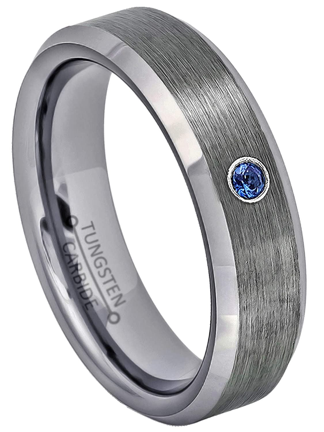 8MM Polished 2-Tone Yellow Gold Plated Comfort Fit Beveled Edge Tungsten Carbide Wedding Band September Birthstone Ring Jewelry Avalanche 0.07ct Blue Sapphire Tungsten Ring