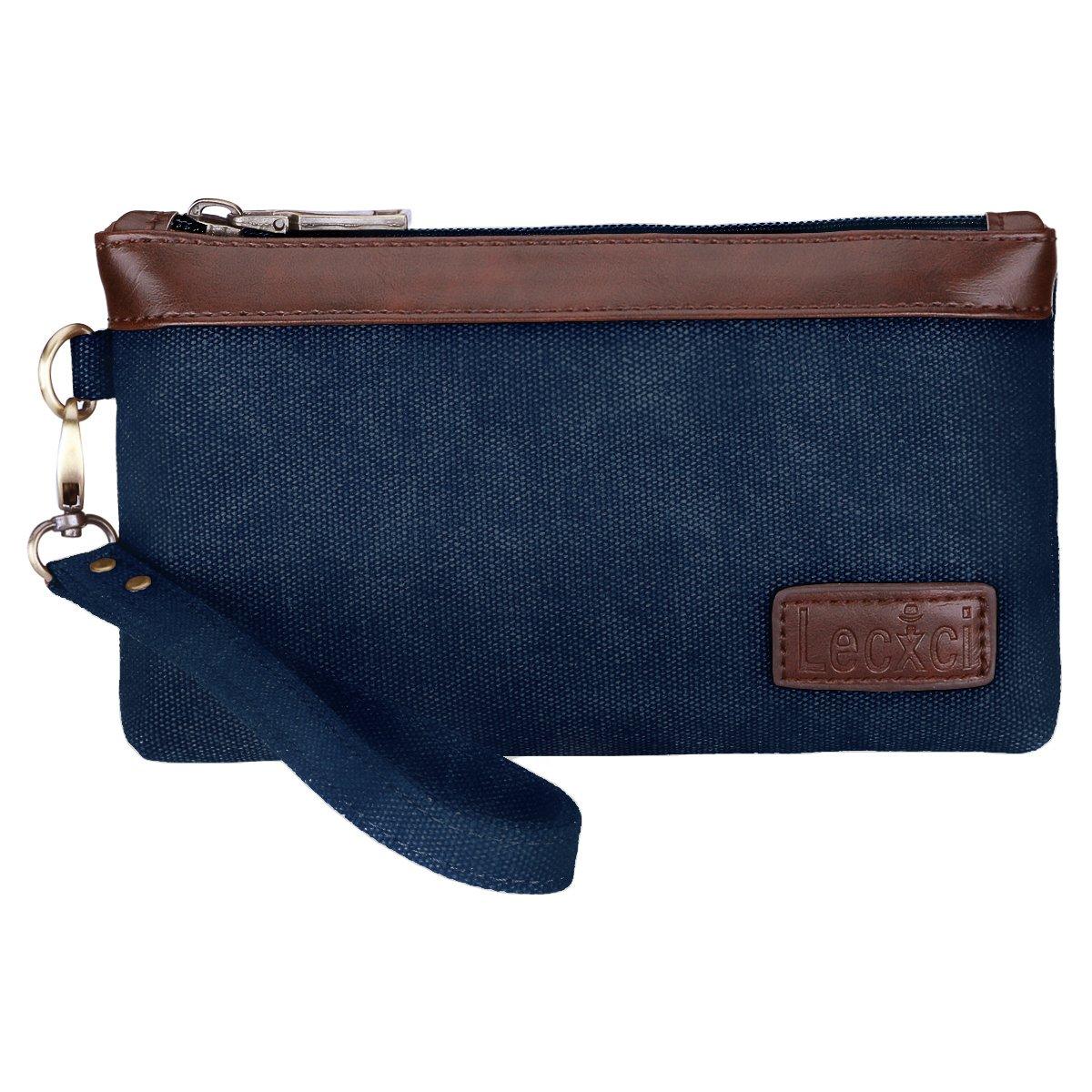 Lecxci Women's Canvas Smartphone Wristlets Bag Clutch Wallets Purses for iPhone 6S/7 Plus/8 Plus/X