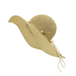 LETHMIK Womens Summer Straw Hat Manual Shell String Ladies Beach Sun Hat Floppy Wide Brim Hat