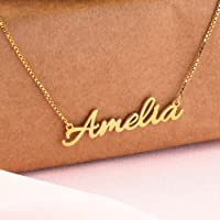 Personalized 18k gold plated cursive name necklace, 925 sterling silver with gold plated name cursive necklaces