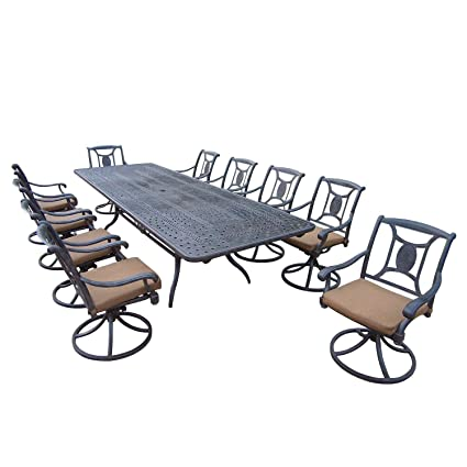 Amazon Com 11 Piece Aged Black Finish Aluminum Outdoor Furniture