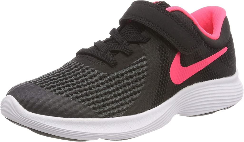94962adcf4b136 Nike Girls  Revolution 4 (PSV) Running Shoe Black Racer Pink - White