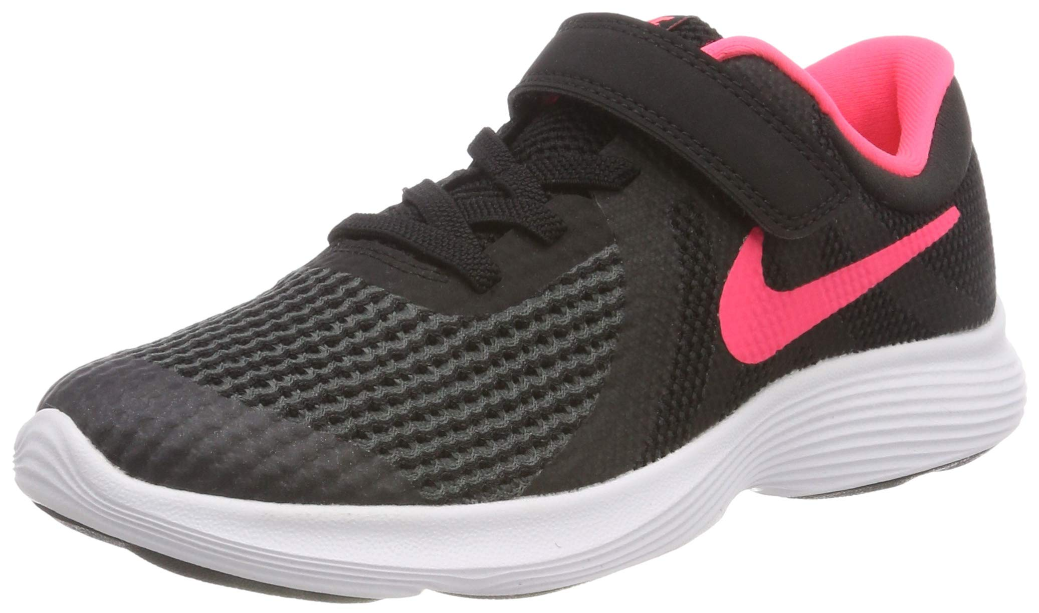 Nike Girls' Revolution 4 (PSV) Running Shoe, Black/Racer Pink - White, 12C Regular US Little Kid by Nike (Image #1)