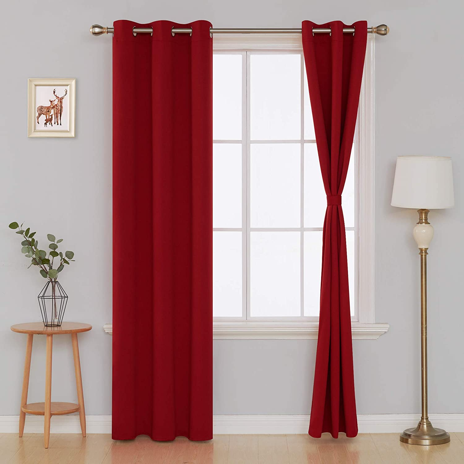 Deconovo Blackout Curtains for Bedroom Set of 2 Panels with Tiebacks, 38x84 Inch Grommet Top, Red