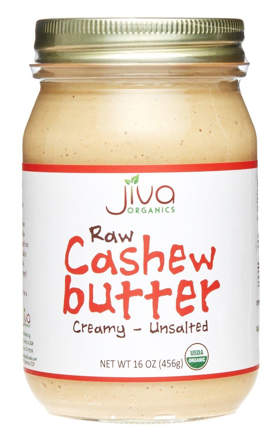 Jiva Organics RAW Organic Cashew Butter 16-Ounce Jar