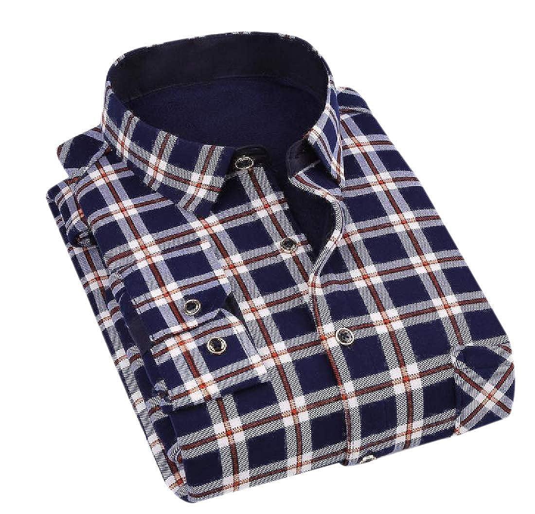YUNY Men Long-Sleeve Brumal Floral Printed Thicken Warm Fleece Fit Shirt 12 3XL