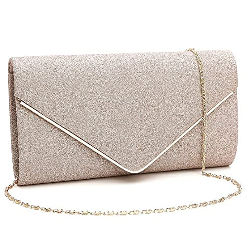 f762d01f8a38 Orfila Women Flashing Glitter Clutch Bag Evening Party Handbag Purse Chain  Shoulder Crossbody Bag