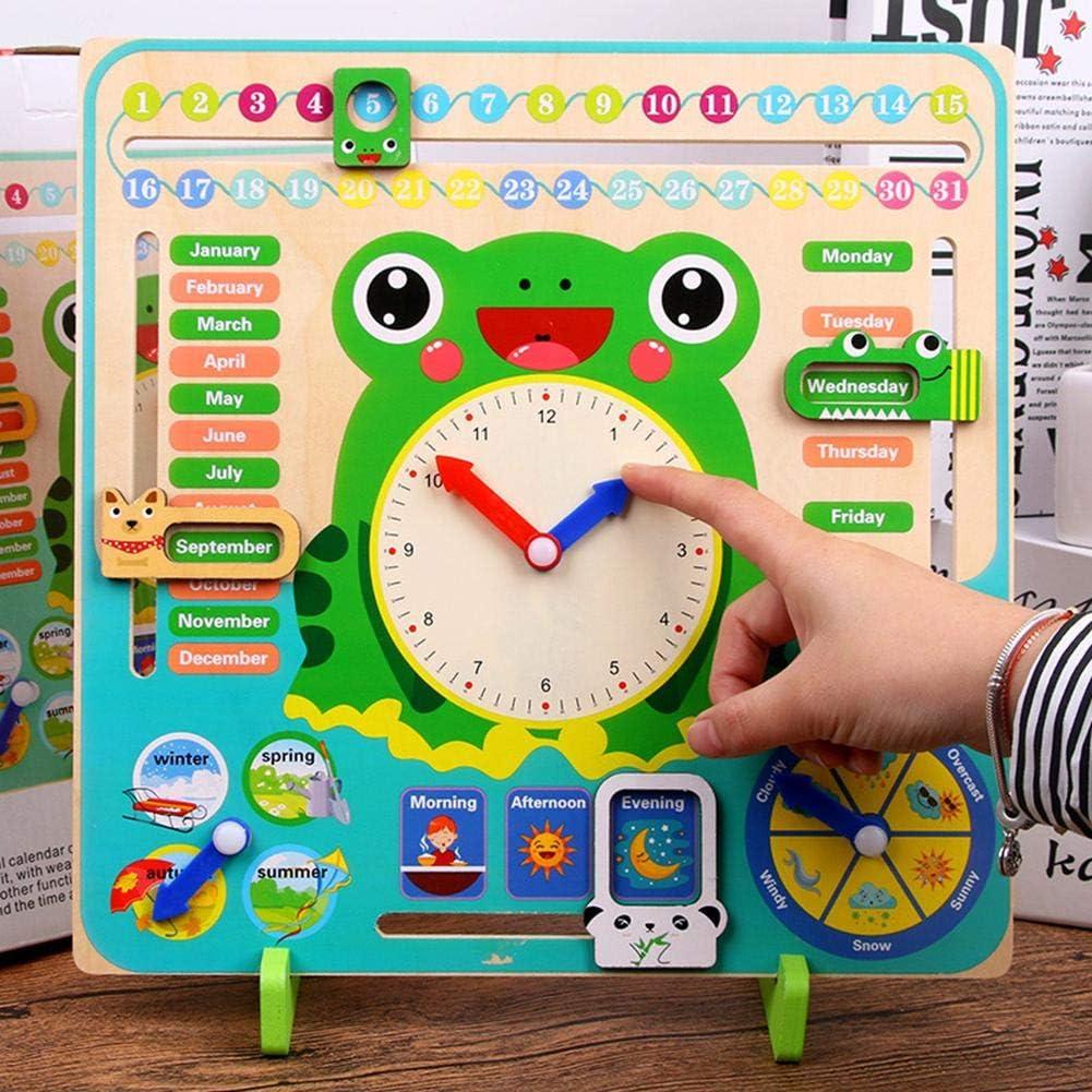 Temps Date Saison M/ét/éo hinffinity Calendrier en Bois Horloge Enfants Calendrier Cognitif Quotidien Enseignement Horloge /Éducation Jouets Vert