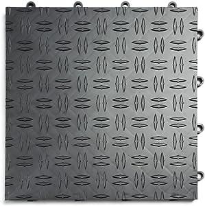 GarageTrac Diamond, Durable Interlocking Modular Garage Flooring Tile (48 Pack), Graphite