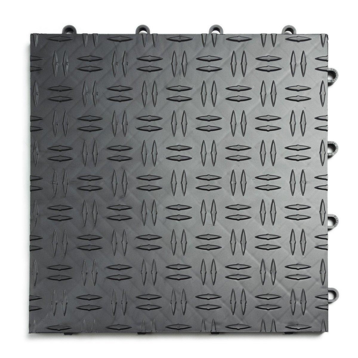 GarageTrac Diamond, Durable Interlocking Modular Garage Flooring Tile (48 Pack), Graphite by GarageTrac