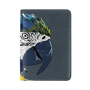 4df392811494 Amazon.com | Parrot Macaw Art Bird Leather Passport Holder Cover ...