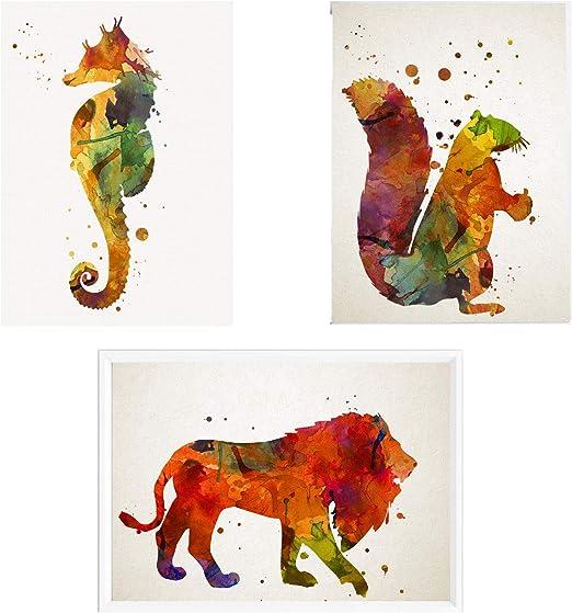 Pack de 3 láminas para enmarcar de Animales. Posters en tamaño A3 ...