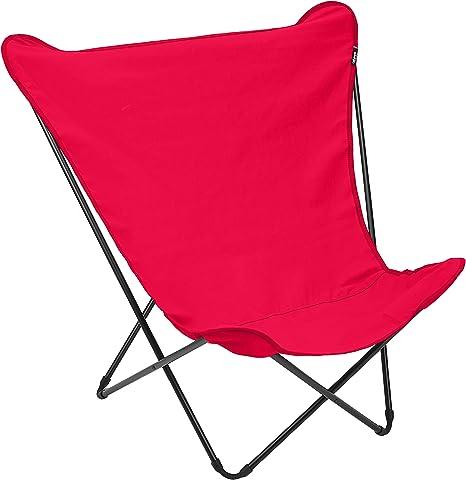 Lafuma Pop Up XL Tripolina Chaise Longue Structure en Acier Couleur Noir Airlon Toile Couleur Rouge Garance