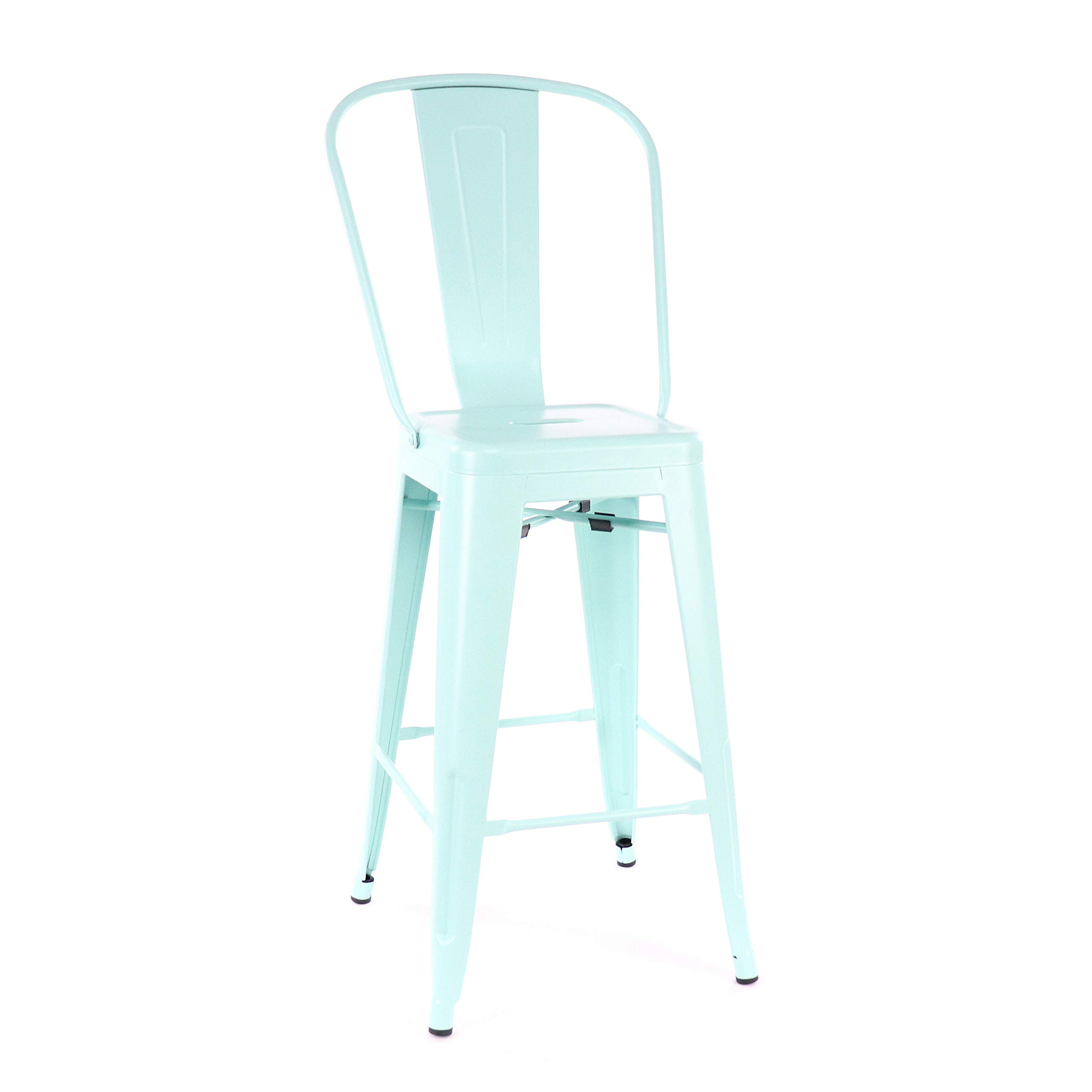 Design Lab MN LS-9102-PEPHB Dreux Mint Green High Back Counter Stool Set of 4
