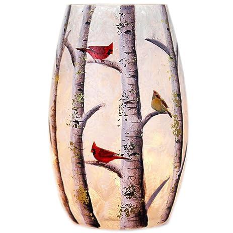 Amazon Stony Creek 5 Tall Oval Lighted Glass Vase Winter