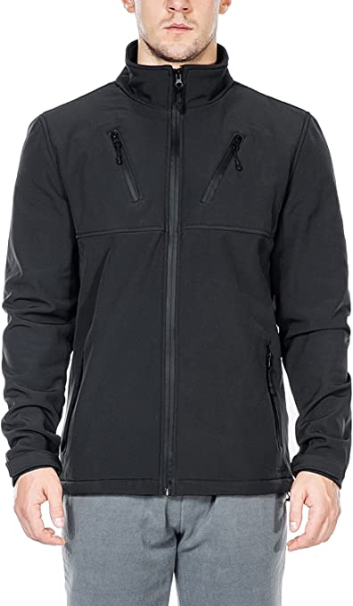 Nonwe Mens Softshell Jacket-Outdoor Windproof Front-Zip