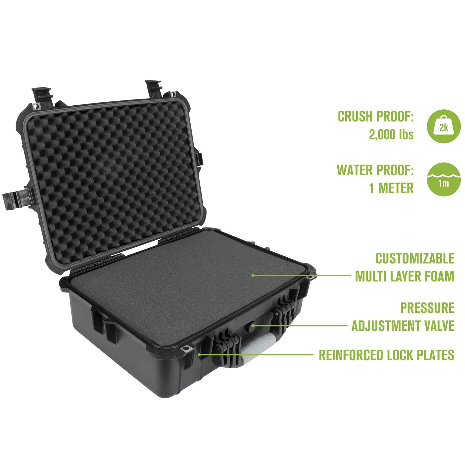 Elkton Outdoors Hard Gun Case: Fully Customizable Pistol Case: Holds 5 Handguns and 10 Magazines: Crush Resistant & Waterproof! by Elkton Outdoors (Image #2)