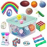 24 Pack Bundle Sensory Fidget Toys Set-Liquid Motion Timer/Grape Ball/Mochi Squishy/Stretchy String/Flippy Chain/Easter Egg/M