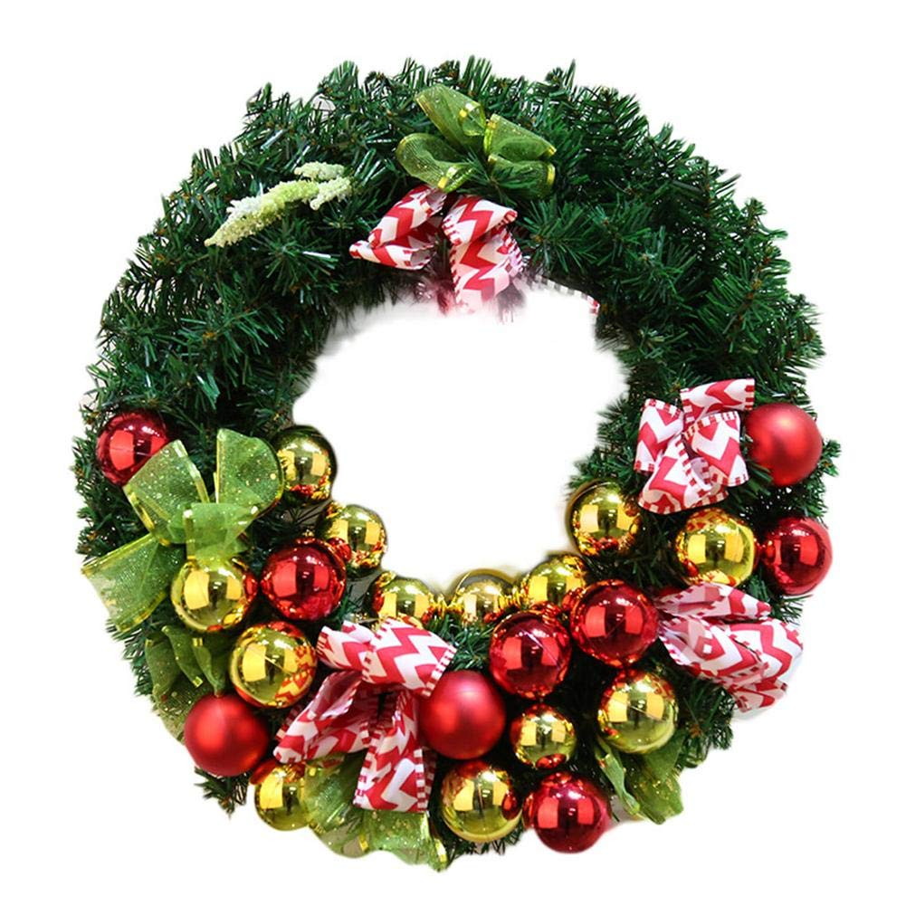 Christmas Wreath Front Door Hanging Wreath with Striped Ribbon,Golden &Red Bell Xmas Round Garland Decor for Home Office Wall Window Wedding