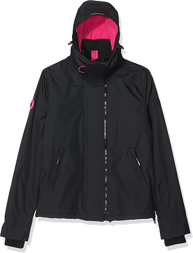 UK 12 M SUPERDRY Women/'s SUPER SLALOM Ski Jacket Black /& White
