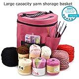 Myonly Knitting Yarn Bag Large Crochet Yarn Storage Organizers Holder Knitting Bag Wool Ball Holder Tote Organizer Needle Tool Case Basket