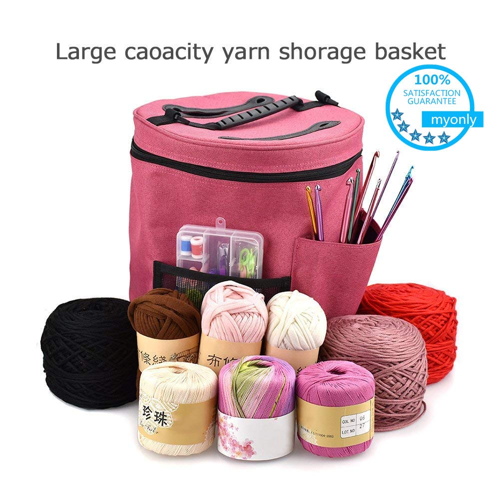 Myonly Knitting Yarn Bag - Large Crochet Yarn Storage Holder Knitting Bag Wool Ball Holder Tote Organizer Needle Tool Case Basket