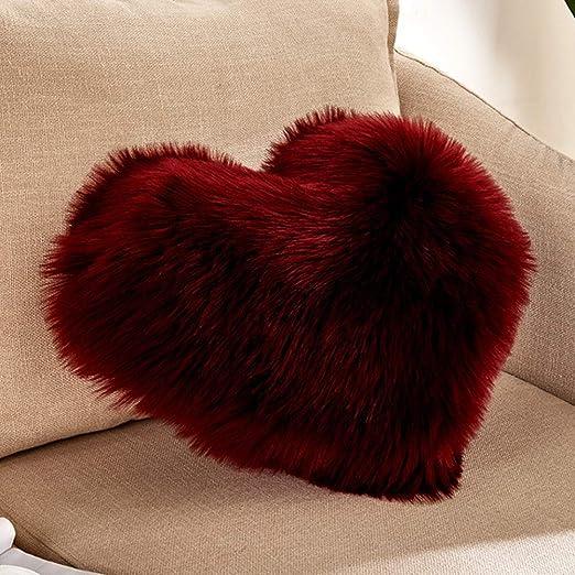 Lionina - Cojín de Pelo sintético Mullido, 40 x 50 cm, Liso, con Forma de corazón, Ideal para Decorar el sofá del Coche, G, Tamaño Libre