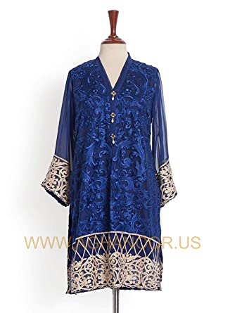 e1f17595ec Amazon.com: Agha Noor Trendy and Artistic Full-Sleeved Kurti – Blue:  Clothing