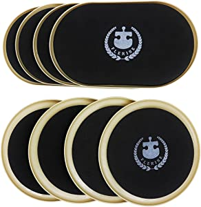 """FLERISE Furniture Sliders for Carpet Surfaces Move Heavy Furniture Quickly and Easily with Furniture Pads 8 Pack (4 Pack 7"""" Round and 4 Pack 9.5"""" Ellipse)"""