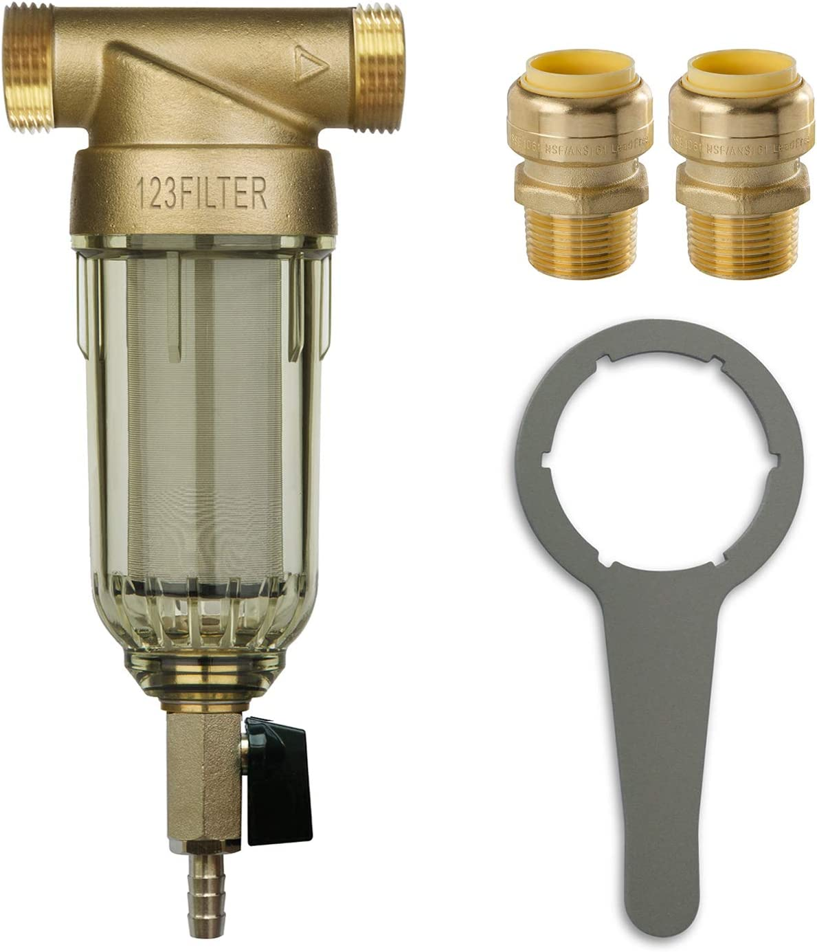 """iSpring WSP-50 Reusable Whole House Spin Down Sediment Water Filter 50 Micron, 1"""" MNPT + 3/4"""" FNPT w/Push to Connect Fittings"""