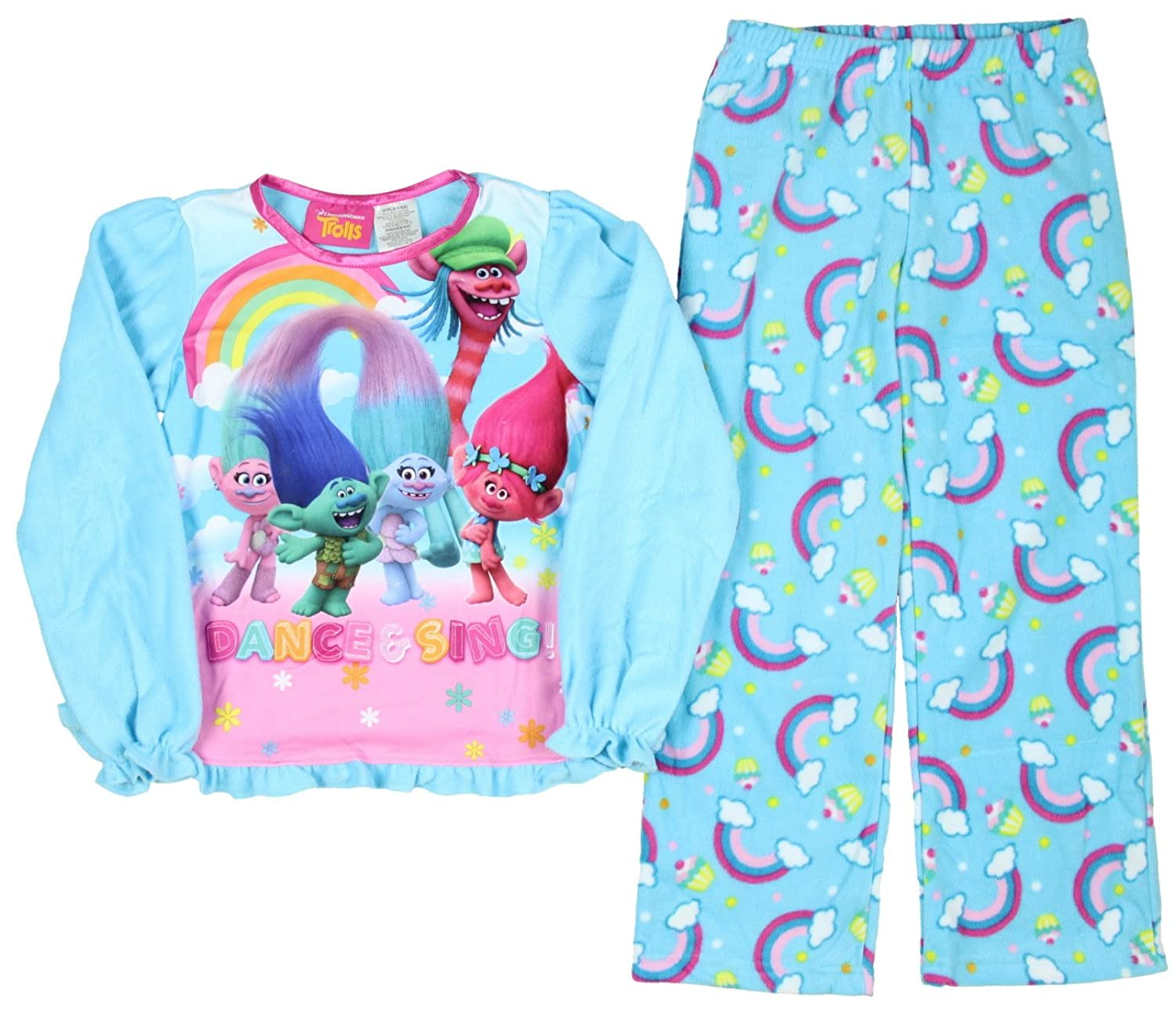 Amazon.com: Trolls Girls Licensed 2-Piece Poly PJ - Blue (10/12): Clothing