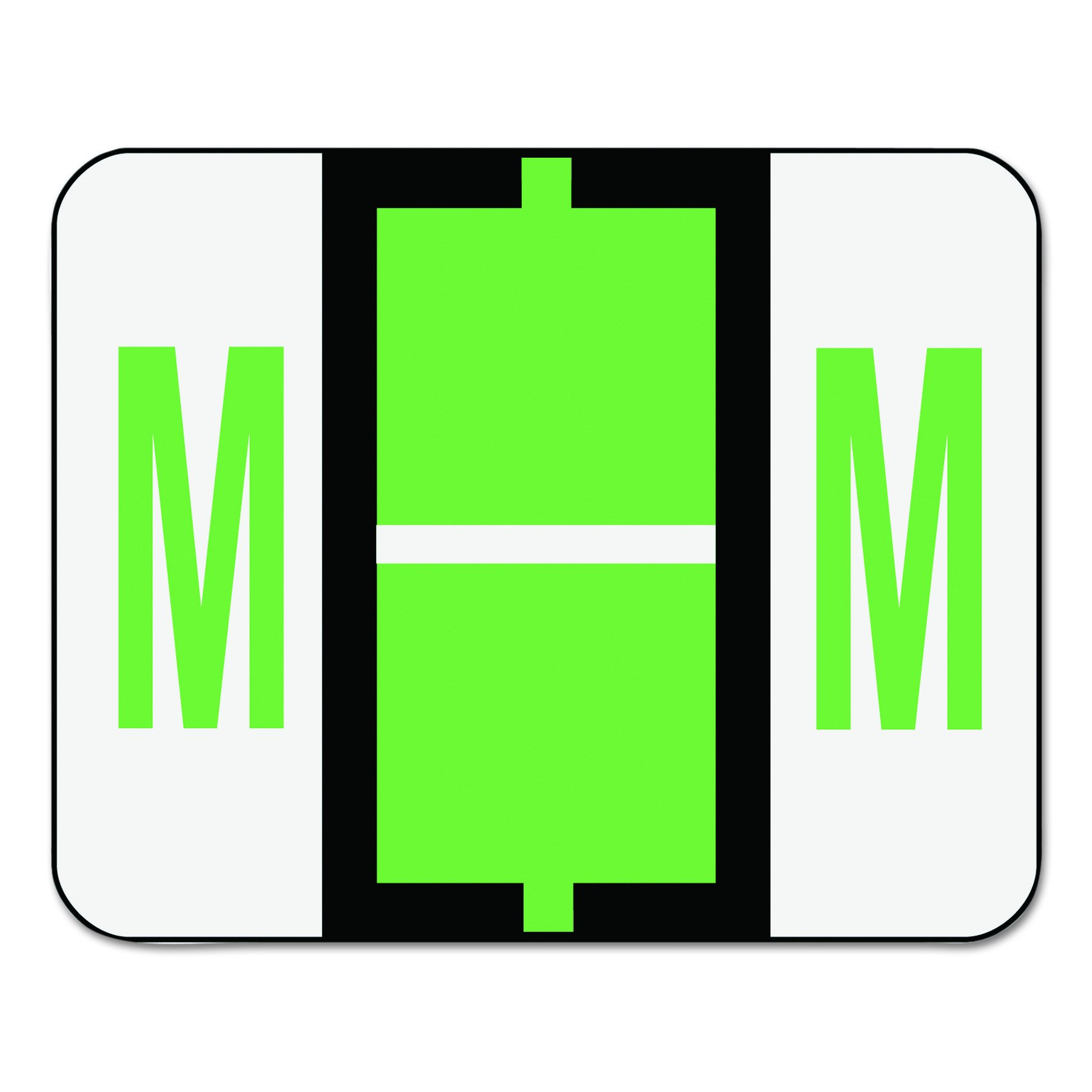 Smead BCCR Bar-Style Alphabetic Color-Coded Labels, Letter M, Light Green,/White Bar, 500 Labels per Roll (67083) by Smead